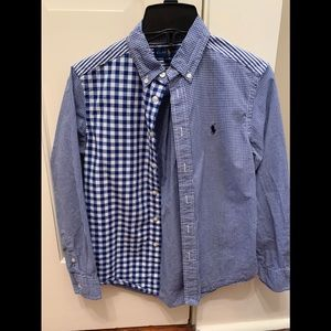 Boys button down long sleeved shirt size 10/12